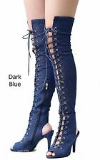 New Women FFy9  Blue Denim Over the Knee Peep Toe Lace Up Thigh High Long Boots