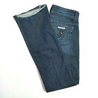 HUDSON Womens Mid Rise Boot Cut Jeans Dark Wash *BUTTON FLAP* Size 27 RAW HEM