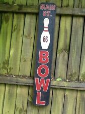 """Route 66 Hand Painted Wooden Sign - MAIN STREET BOWL - Bowling Alley - 34"""" tall"""