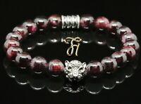 Granat 8mm Armband Bracelet Perlenarmband silberfarbener Tigerkopf