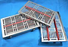 2 German Dental Autoclave Sterilization Cassette Rack Box For 20 Instrument Red