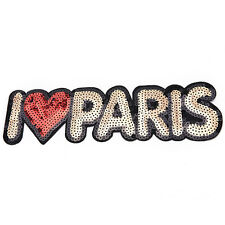 Embroidered Iron On Patches For Clothes Brand I Love PARIS SequinsDeal With F&F