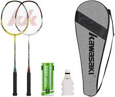 Kawasaki- 2 Player Badminton Racquets Set Double Rackets Aluminum Shaft Badminto