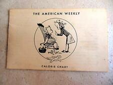 Vintage 1949 Hearst Publishing Co American Weekly Calorie Chart