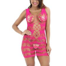 Women's Mesh Lingerie Fishnet BabyDoll Mini Dress Free Size Bodysuit