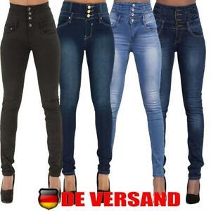 Damen Jeans Hose Röhre Hochschnitt Hoher Bund Corsage Skinny Stretch Röhrenjeans