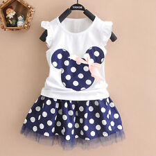 Kids Baby Girls Minnie Mouse Tutu Tulle Dress Skirts Summer Short Sleeve Outfits