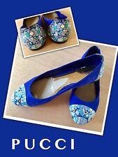 Emilio Pucci Blue Suede Retro Leather Toe & Heel BALLET FLATS SHOES 39 ^
