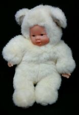 """Simba Toys Baby Doll White Bear Blue Eyes Pink Plastic Face Hands Plush 9"""" Toy"""