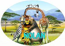 plaque de porte ovale chambre animaux afrique personnalisée prénom choix réf 196