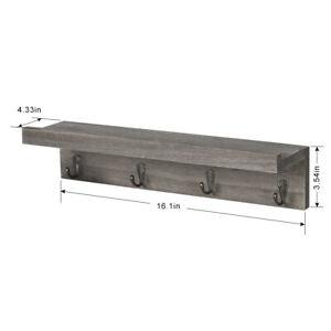 2 PCS Coat Hooks Shelves with 4 Hooks Coat Rack Wall Mount Wood Hanging Storage