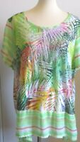 Onque Woman Plus 2X Green multicolor floral stripes tunic blouse embellished top