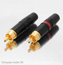 8 Neutrik Phono RCA ORO NYS373 Rosso/Nero Professionale Connettori REAN