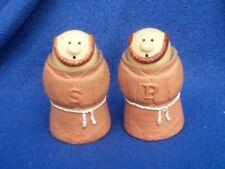 Enesco Salt and Pepper Set Ceramic Friars Monks Vtg 1978