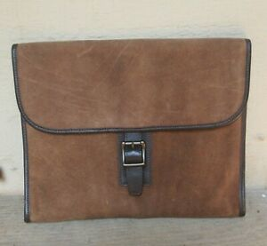 """FOSSIL Brown Suede Envelope Carry Briefcase    1.5"""" x 11"""" x 13.5"""""""