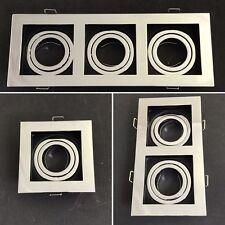 New Square Tilt Spotlight Recessed Ceiling Downlight Chrome & Black GU10 Fitting