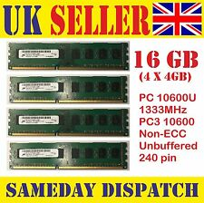 16GB DDR3 Desktop RAM (4X4GB)  10600U 1333MHz  UK Seller NON-ECC 240Pin