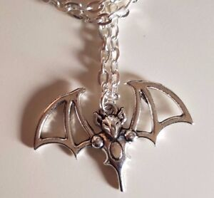 Large Vampire Bat Charm Halloween Gothic Necklace Chain and Pendant Gift Bagged