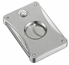 NEW Caseti Paris Twin Blade Silver Carbon Cigar Cutter New Luxury Gift Boxed