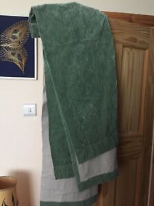 "Vintage Retro Sage Green Velvet Long Thin Curtains Fabric 30"" W x 90"" D"