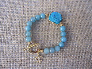 DRUZY AGATE- BLUE AGATE BEADS BRACELET WITH GOLD FILLED FLEUR THE LIS CHARM