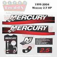 1999-04+ Mercury 2.5 HP Fire Red 2-Stroke Reproduction Marine Vinyl Decals 7Pc
