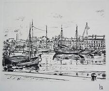 """L.A. DEMANGEON 1909/1979 Gravure """"Le port de Fécamp bassin Ouest"""""""