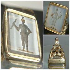 Victorian intaglio seal fob Night in Shining Armour symbolic Gallant Brave