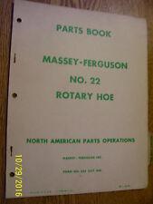 VINTAGE MASSEY FERGUSON   PARTS  MANUAL -# 22 ROTARY HOE  -1958