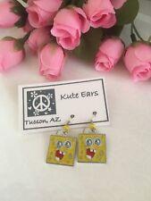 Silvertone Sponge Bob Square Pants - Square Sponge Bob Face Dangle Earrings