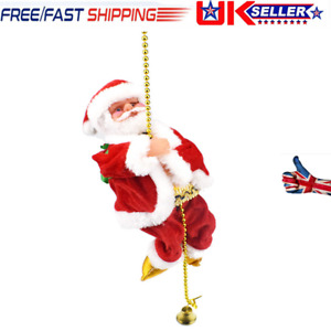 Christmas Electric Musical Toy Santa Claus Climbing On Rope For Xmas Decor NEW