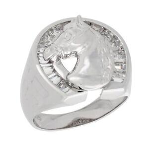 Men's Sterling Silver Horse Head & Horseshoe Ring w/ Brilliant Cut CZ Stones