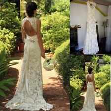 Open Back Lace Wedding Dress Vintage Bridal Gown White Ivory Size 6 8 10 12 14