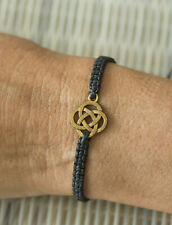 Bracelet tibétain Chakra fil noir tressé Noeud infini sans fin métal Zen 21196