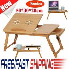 Portable Folding Laptop Pc Desk Lap Bed Tray Dinner Notebooks Bamboo Table Shelf