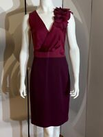 New Coast Burgundy Party Xmas Evening Dress Cross Over Floral Style Top UK 10
