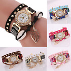 Fashion Women's Watch Crystal Stainless Steel Leather Analog Quartz Wrist Watch