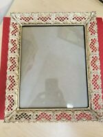 Vintage MCM Brass White Filagree Photo Picture Frame 8 x 10 Mid Century Modern