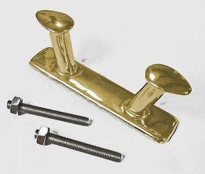 Mooring bollard 200mm, double horn, cast brass,  BRASS OR CHROME FINISH  33D00x
