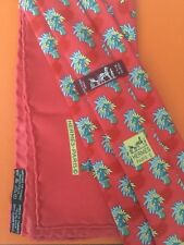 HERMES PALM TREES RED MEN'S SILK TIE & POCKET SQUARE SET 7433 HA