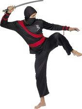 Black Ninja Warrior Costume Mens Medium Fancy Dress