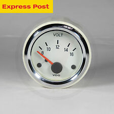 VDO 52mm WHITE/CHROME 12v VOLT GAUGE automotive-marine-4wd