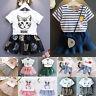Kids Girls Cartoon Short Sleeve Tutu Dress T-Shirt Jeans Skirt Outfit 2Pcs Sets