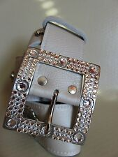 NEW Belt Women's Real Leather Buckle Swarovski Crystals Beige Handmade