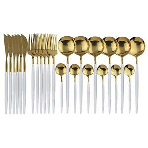 24PCS Tableware Gold Cutlery Set Dishes Dinnerware Set Knives Forks Spoons Model