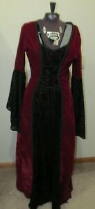 Lip Service Maxi Edwardian Burgundy & Black Velvet Lace Goth Dress Punk Large