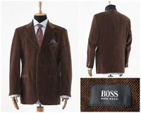 Mens HUGO BOSS Blazer Coat Jacket Corduroy Cotton Brown Size 42 L 52