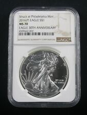 2016 (P) SILVER EAGLE STRUCK AT PHILADELPHIA MINT NGC MS 70