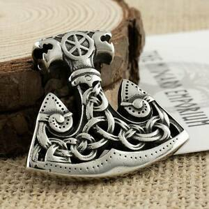 Viking Necklace Axe Pendant Stainless Steel Mens Jewellery (3mmCable)