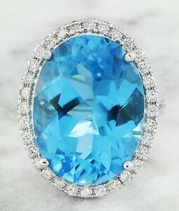 20.44 Carat Natural Topaz 14K White Gold Diamond Ring